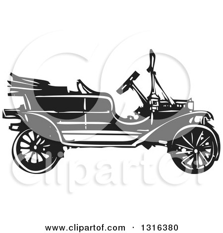 Clipart of a Black and White Woodcut Antique Model T Car - Royalty Free Vector Illustration by xunantunich