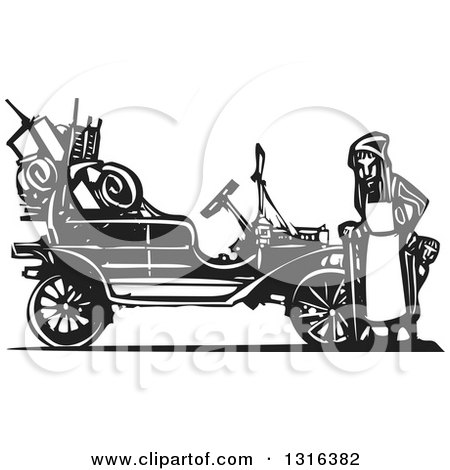 Clipart of a Black and White Woodcut Old Woman and Children Leaving Home During the Great Depression, Standing by an Antique Model T Car - Royalty Free Vector Illustration by xunantunich