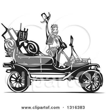 Clipart of a Black and White Woodcut Cowboy Waving His Hat by an Antique Model T Car - Royalty Free Vector Illustration by xunantunich