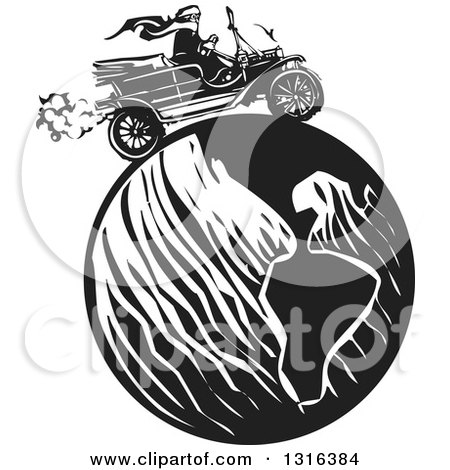 Clipart of a Black and White Woodcut Woman Wearing a Scarf and Driving an Antique Model T Car Around the Globe - Royalty Free Vector Illustration by xunantunich