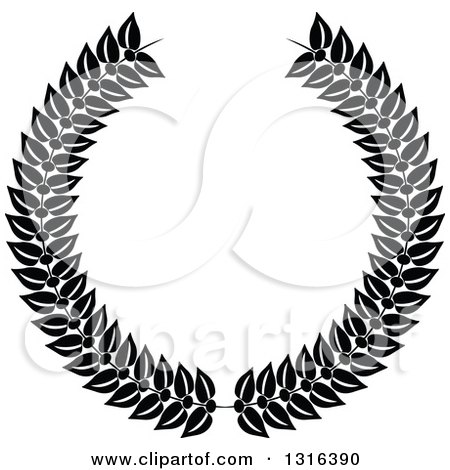 Clipart of a Black and White Laurel Wreath Design 2 - Royalty Free Vector Illustration by KJ Pargeter