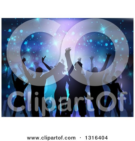 Clipart of a Silhouetted Group of Dancers over Flares and Lights on Purple and Blue - Royalty Free Vector Illustration by KJ Pargeter