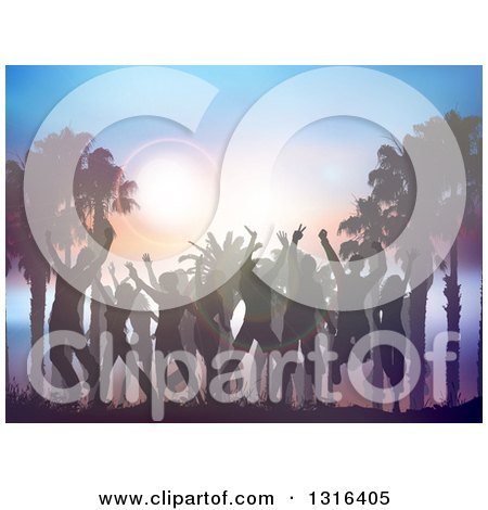 Clipart of a Silhouetted Crowd Dancing with Palm Trees and Flares at Sunset - Royalty Free Vector Illustration by KJ Pargeter