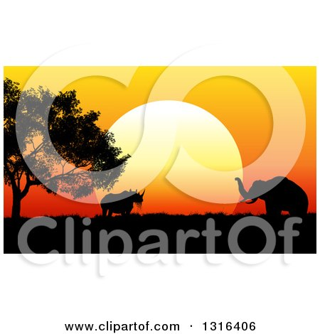 Clipart of a Silhouetted Acacia Tree, Rhinoceros and Elephant Against an African Safari Sunset - Royalty Free Vector Illustration by KJ Pargeter