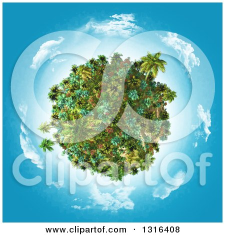 Clipart of a 3d Tropical Planet with Palm Trees and Plants, with Blue Sky and Clouds - Royalty Free Illustration by KJ Pargeter