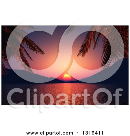 Clipart of a 3d Purple and Red Tropical Ocean Sunset Framed by Silhouetted Palm Tree Branches and Hills - Royalty Free Illustration by KJ Pargeter