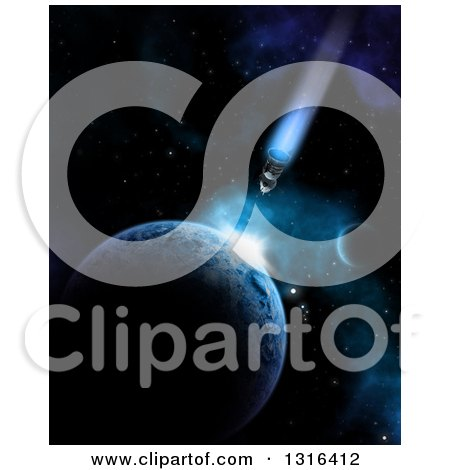 Clipart of a 3d Shuttle and Impact Against a Planet in Outer Space - Royalty Free Illustration by KJ Pargeter