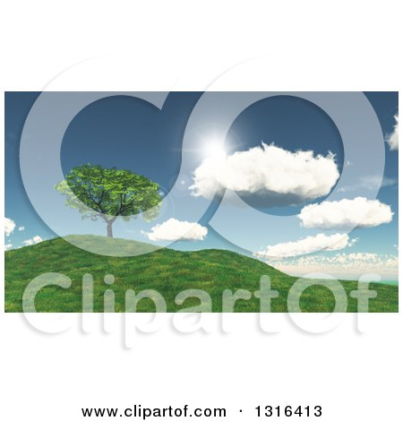 Clipart of a 3d Green Tree on a Grassy Hill, with Sunshine and Clouds - Royalty Free Illustration by KJ Pargeter