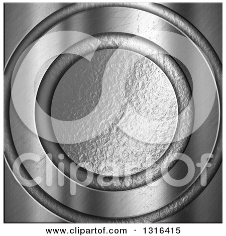 Clipart of a 3d Hammered and Brushed Silver Circle Background - Royalty Free Illustration by KJ Pargeter
