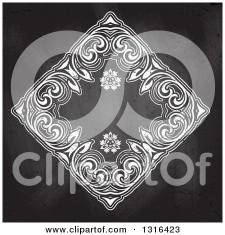 Clipart of a Chalk Floral Ornate Frame on a Blackboard - Royalty Free Vector Illustration by KJ Pargeter