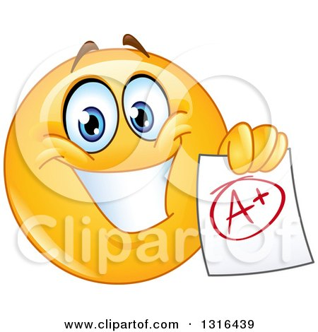 Clipart of a Smart Happy Yellow Emoticon Smiley Face Holding an a Plus Graded Paper - Royalty Free Vector Illustration by yayayoyo