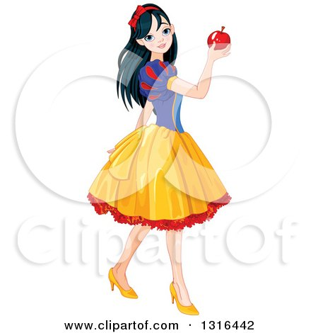 Clipart of Princess Snow White Walking and Holding up an Apple - Royalty Free Vector Illustration by Pushkin