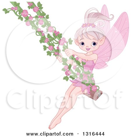 Clipart of a Happy Pink Fairy Tale Pixie on a Swing with Rose Vines - Royalty Free Vector Illustration by Pushkin
