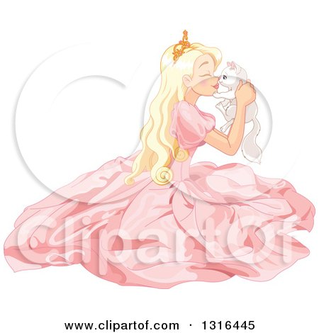 Clipart Of A Blond Caucasian Princess In A Pink Gown Sitting On The Floor Holding And Rubbing Noses With A White Kitten Royalty Free Vector Illustration