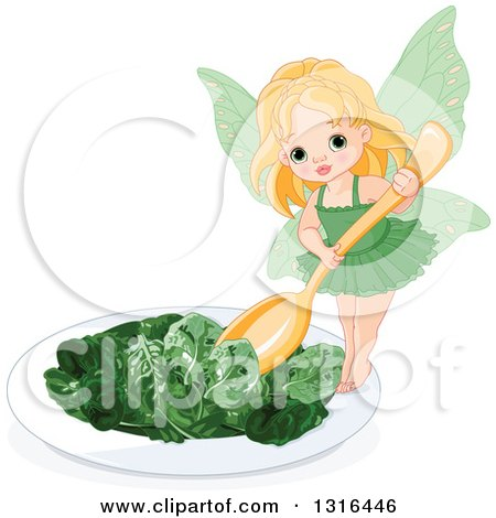 Clipart of a Blond White Toddler Female Fairy Holding a Spoon over a Spinach Salad - Royalty Free Vector Illustration by Pushkin