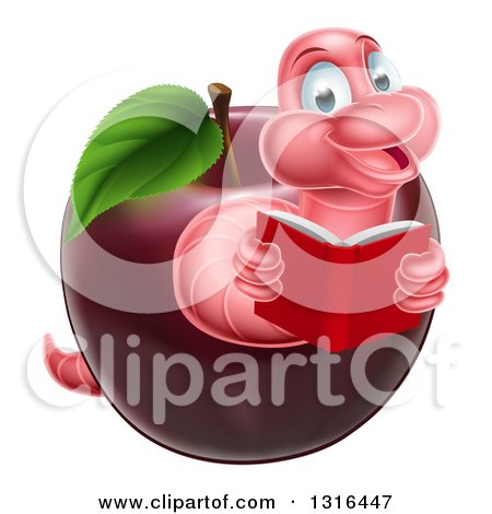 Clipart of a Pink Earthworm Reading a Book and Emerging from a Red Apple - Royalty Free Vector Illustration by AtStockIllustration