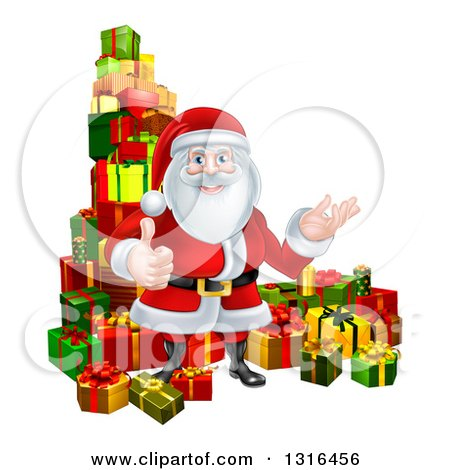 Clipart of a Cartoon Santa Claus Presenting and Giving a Thumb up by Stacked Christmas Gifts - Royalty Free Vector Illustration by AtStockIllustration