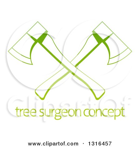 Clipart of a Gradient Green Tree Surgeon Logo of Crossed Axes over Sample Text - Royalty Free Vector Illustration by AtStockIllustration