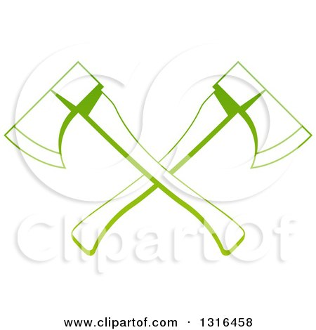 Clipart of a Gradient Green Tree Surgeon Logo of Crossed Axes - Royalty Free Vector Illustration by AtStockIllustration