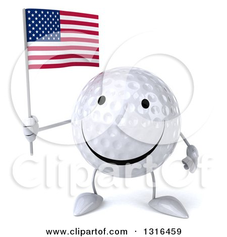 Clipart of a 3d Happy Golf Ball Character Holding an American Flag - Royalty Free Illustration by Julos