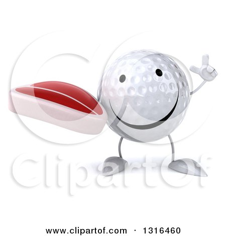 Clipart of a 3d Happy Golf Ball Character Holding up a Finger and a Beef Steak - Royalty Free Illustration by Julos