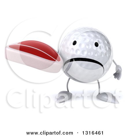 Clipart of a 3d Unhappy Golf Ball Character Holding a Beef Steak - Royalty Free Illustration by Julos