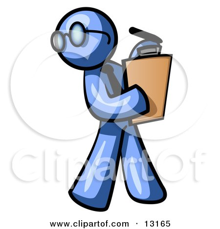 Blue Man Holding a Clipboard While Reviewing Employess Posters, Art Prints
