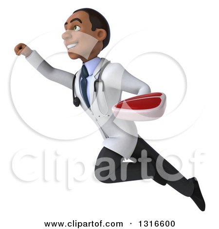 Clipart of a 3d Young Black Male Nutritionist Doctor Flying up to the Left and Holding a Beef Steak - Royalty Free Illustration by Julos