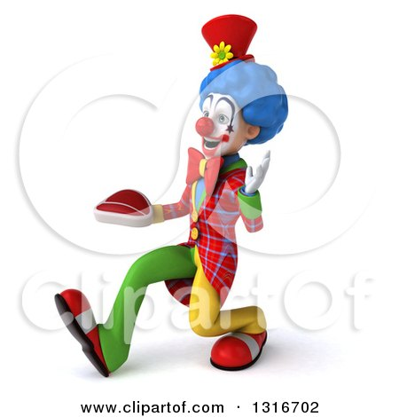 Clipart of a 3d Colorful Clown Speed Walking to the Left, Waving and Holding a Beef Steak - Royalty Free Illustration by Julos