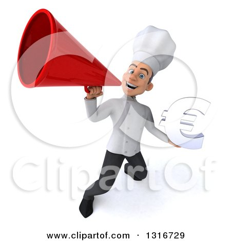 Clipart of a 3d Young White Male Chef Holding a Euro Symbol and Announcing Upwards with a Megaphone - Royalty Free Illustration by Julos