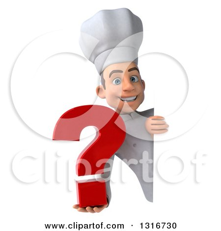Clipart of a 3d Young White Male Chef Holding a Question Mark Around a Sign - Royalty Free Illustration by Julos