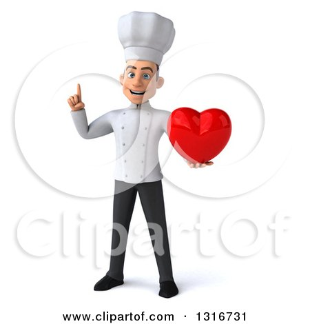 Clipart of a 3d Young White Male Chef Holding up a Finger and a Heart - Royalty Free Illustration by Julos