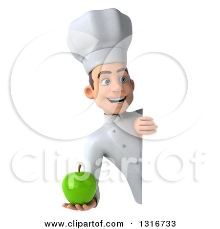 Clipart of a 3d Young White Male Chef Holding a Green Apple Around a Sign - Royalty Free Illustration by Julos