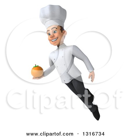 Clipart of a 3d Young White Male Chef Flying with a Navel Orange - Royalty Free Illustration by Julos