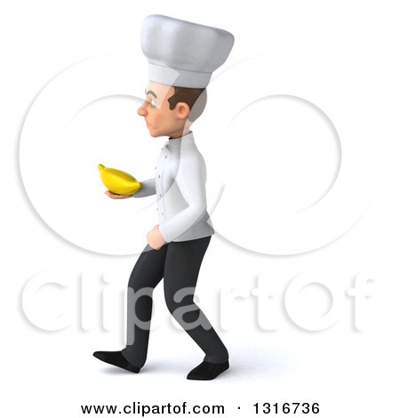 Clipart of a 3d Young White Male Chef Walking to the Left and Holding a Banana - Royalty Free Illustration by Julos