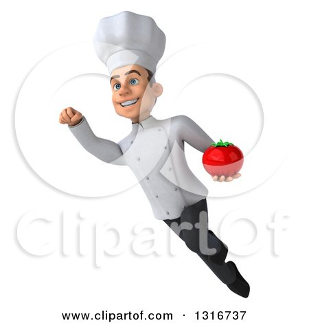 Clipart of a 3d Young White Male Chef Flying with a Tomato - Royalty Free Illustration by Julos