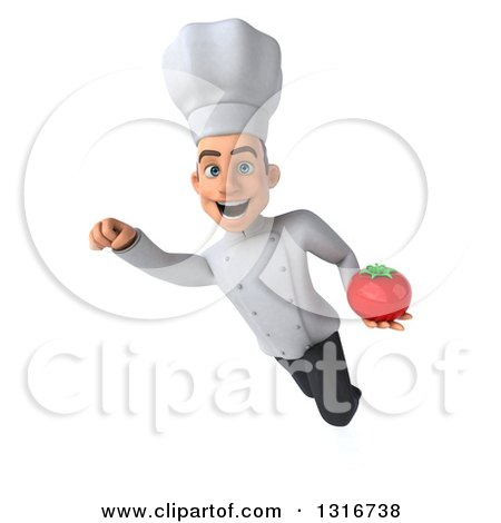 Clipart of a 3d Young White Male Chef Flying with a Tomato 2 - Royalty Free Illustration by Julos