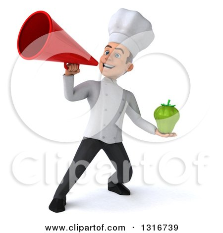 Clipart of a 3d Young White Male Chef Holding a Green Bell Pepper and Using a Megaphone - Royalty Free Illustration by Julos