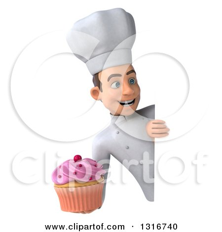 Clipart of a 3d Young White Male Chef Holding a Pink Frosted Cupcake Around a Sign - Royalty Free Illustration by Julos