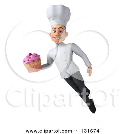 Clipart of a 3d Young White Male Chef Flying and Holding a Pink Frosted Cupcake - Royalty Free Illustration by Julos