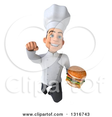 Clipart of a 3d Young White Male Chef Flying and Holding a Double Cheeseburger - Royalty Free Illustration by Julos