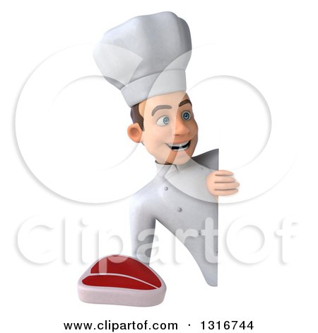 Clipart of a 3d Young White Male Chef Holding a Beef Steak Around a Sign - Royalty Free Illustration by Julos