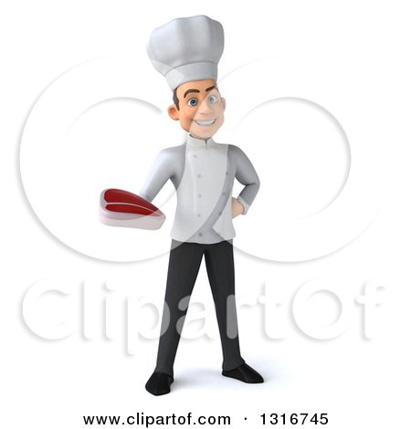 Clipart of a 3d Young White Male Chef Holding a Beef Steak - Royalty Free Illustration by Julos