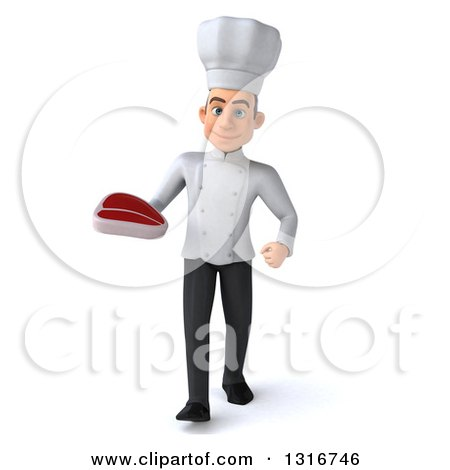 Clipart of a 3d Young White Male Chef Walking and Holding a Beef Steak - Royalty Free Illustration by Julos