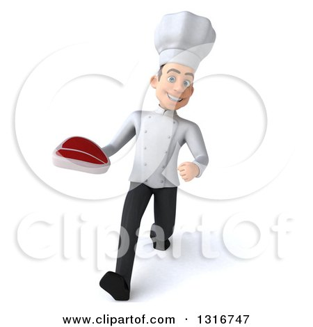 Clipart of a 3d Young White Male Chef Speed Walking and Holding a Beef Steak - Royalty Free Illustration by Julos