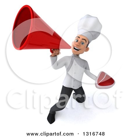 Clipart of a 3d Young White Male Chef Holding a Beef Steak and Announcing Upwards with a Megaphone - Royalty Free Illustration by Julos