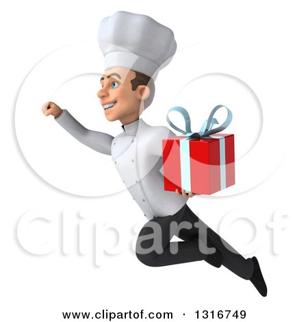 Clipart of a 3d Young White Male Chef Flying to the Left and Holding a Gift - Royalty Free Illustration by Julos