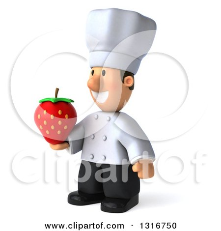 Clipart of a 3d Short White Male Chef Facing Slightly Left and Holding a Strawberry - Royalty Free Illustration by Julos