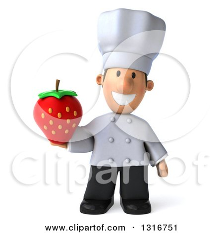 Clipart of a 3d Short White Male Chef Holding a Strawberry - Royalty Free Illustration by Julos