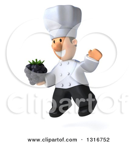 Clipart of a 3d Short White Male Chef Facing Slightly Left, Jumping and Holding a Blackberry - Royalty Free Illustration by Julos